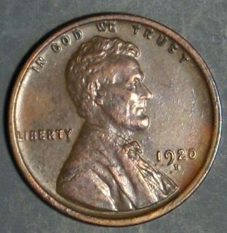 1920 - D Lincoln Wheat Cent Grade Au/bu As Pictured Inv 334 photo