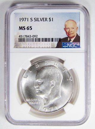 1971 - S Ike Silver Eisenhower Dollar S$1 Ngc Ms 65 Special Label Undergraded Coin photo
