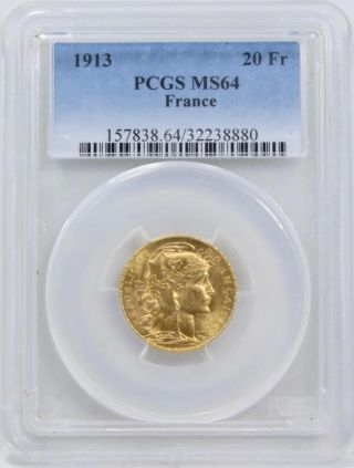 1913 20 Francs France Gold Coin Pcgs Graded Ms64 Agw.  1867 Km 857 photo
