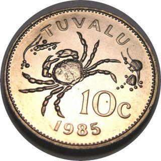 Elf Tuvalu 10 Cents 1985 Crab photo