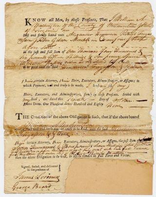 Antique 1789 Colonial Bond Document George Washington's Cousin Revolutionary War photo