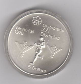 1975 Canadian Silver $5,  1976 Montreal Olympics,  Marathon, .  7227 Asw photo