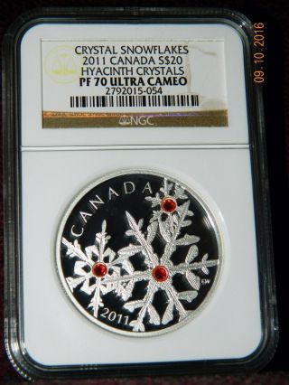 2011 Canada $20 Crystal Snowflakes: Hyacinth Silver Coin W/crystals Ngc Pf70 Uc photo