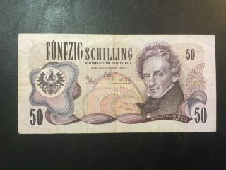 1970 Austria Paper Money - 50 Schilling Banknote photo