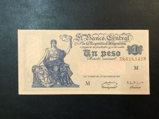 1948 Argentina Paper Money - One Peso Banknote photo