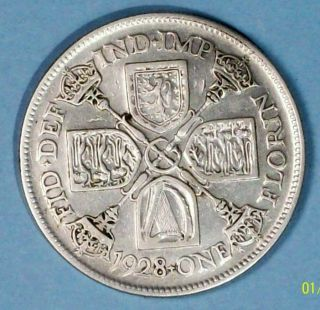 Great Britain Florin 1928 Very Fine Silver Coin photo