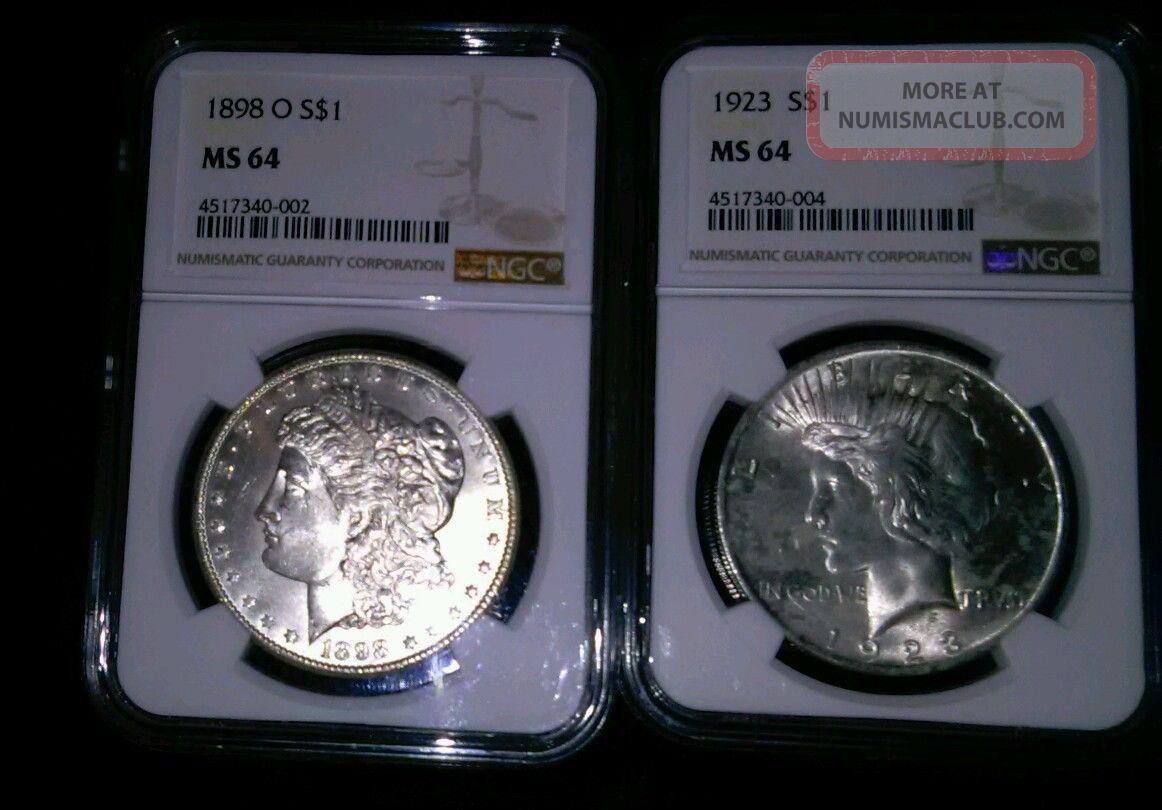 Nr 1898 O Morgan Silver Dollar Ms64 And 1923 Peace Dollar Ms 64 Morgan (1878-1921) photo