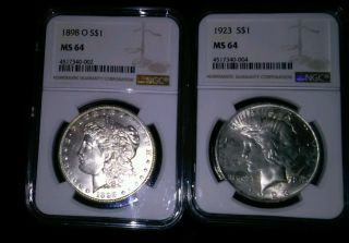 Nr 1898 O Morgan Silver Dollar Ms64 And 1923 Peace Dollar Ms 64 photo