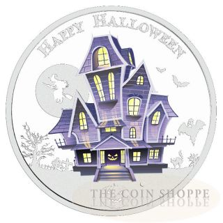 The Haunted House - Halloween - Glow In The Dark - 2016 1 Oz Pure Silver Coin photo