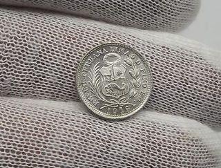 Peru Coin - 1/2 Din Dino 1916 Fg Lima 9 Decimos Fino Silver Coin C - 16 photo