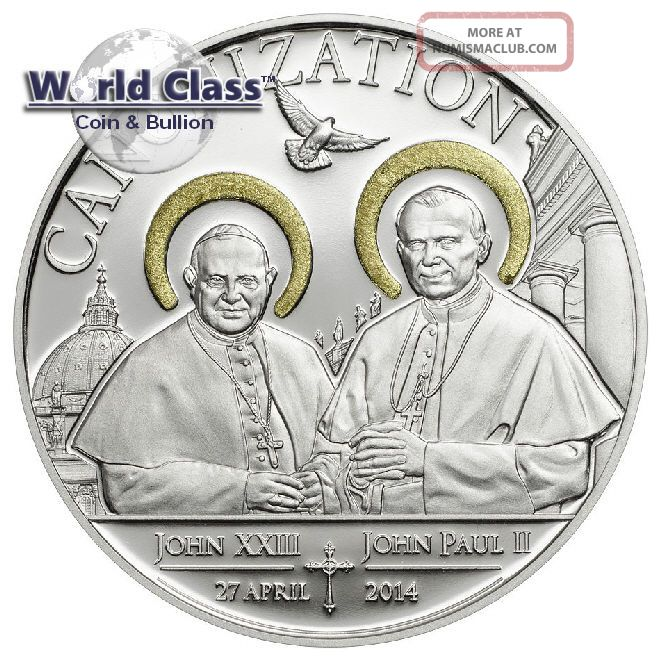 Tanzania 2014 1000 Shillings Canonization Of The Popes 20g Silver Proof Coin Coins: World photo