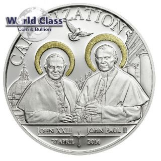 Tanzania 2014 1000 Shillings Canonization Of The Popes 20g Silver Proof Coin photo