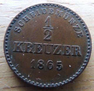 Schwarzburg - Rudolstadt / Germany 1865 1/2 Kreuzer Xf C - 74a photo