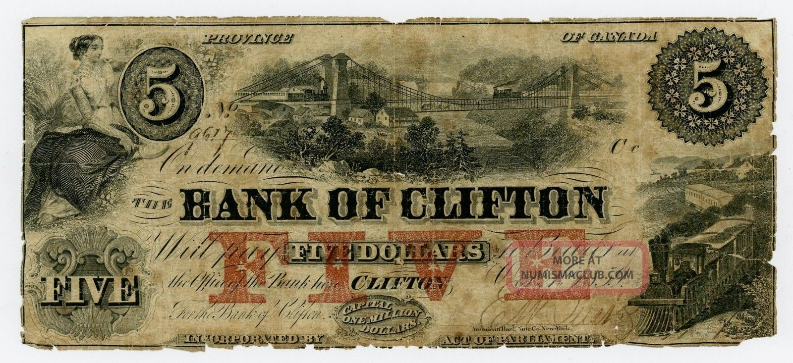 1859 $5 The Bank Of Clifton,  Canada Note Paper Money: US photo