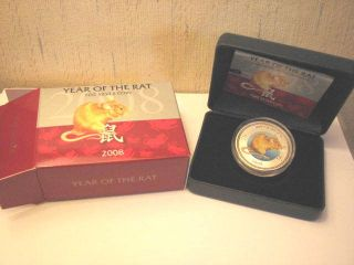 2008 Year Of The Rat 1oz Silver Pitcairn Islands Lunar Coin Zealand photo