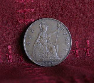 1929 Great Britain Penny Bronze World Coin Britania Uk British Large Cent photo