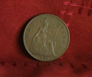 1927 Great Britain Penny Bronze World Coin Britania Uk British Large Cent photo
