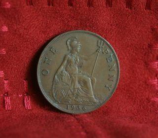 1936 Great Britain Penny Bronze World Coin Britania Uk British Large Cent photo
