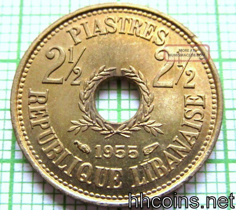 Lebanon 1955 2 - 1/2 Piastres,  Unc Lebanon photo