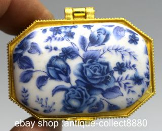 49mm Chinese Blue And White Porcelain Flos Rosae Rugosae Leaf Vogue Jewelry Box photo