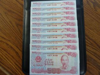 Vietnam Paper Money 10 Pc Bundle 500 Vietnamese Dong Each - Usa Seller photo