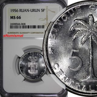 Belgian Congo Ruanda - Urundi 1956 - Db 5 Francs Ngc Ms66 Gem Bu Km 3 photo