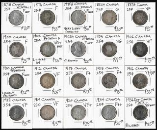 Twenty Canada 25¢ (1871 - 1936) All Different Dates photo