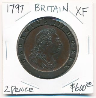 1797 British Two Pence Xf (very Scarce This) See Pictures photo