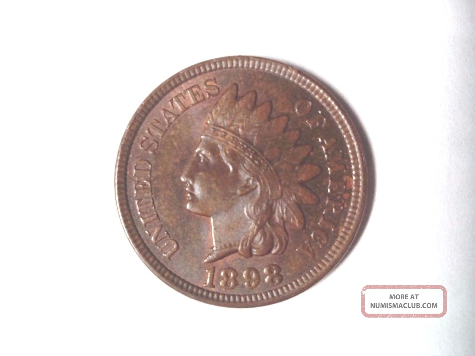 1898 Red Brown Uncirculated Bronze Indian Head Cent Small Cents photo