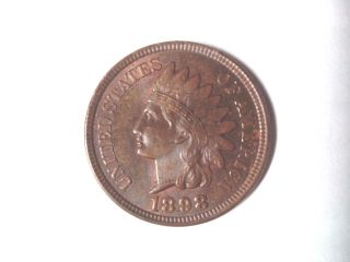 1898 Red Brown Uncirculated Bronze Indian Head Cent photo