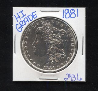 1881 Silver Morgan Dollar Coin 2436 Shipping/rare Estate/high Grade photo