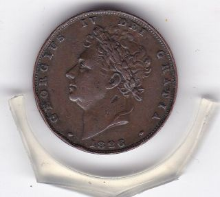 1826 King George Iv Farthing (1/4d) British Coin photo