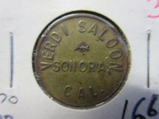 K - 60 Sonora California / Verdi Saloon Gf 1 Drink Token Brass 21mm photo