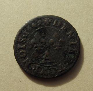 1649 A France 1 Denier Tourmois Louis Xiv Copper Coin Km 167 photo