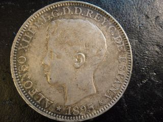 1895 Pgv Puerto Rico Silver Peso.  About Unc To Uncirculated.  Surfaces. photo