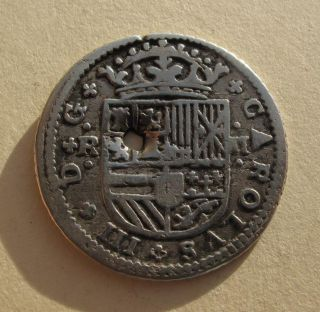 1708 Spain 2 Reales 2r Silver Coin Charles Iii Colonial Era Europe Km Pt5 Scarce photo