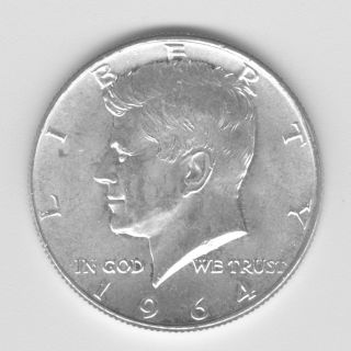 1964 Kennedy Half Dollar -.  50 - 90 Silver photo