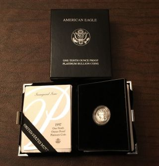 1997 - W 1/10 Oz Proof American Platinum Eagle Coin W/box & photo