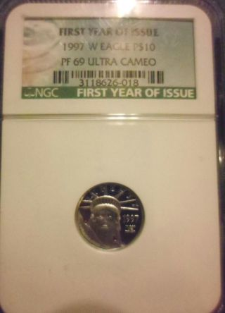1997 $10 Platinum Eagle Ngc Pf 69 Ucam First Year Of Issue Proof 69 Ultra Cameo photo