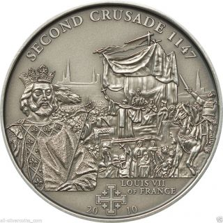 2nd.  Crusade: Louis Vii Of France Silver Antique Finish Coin 5$ Cook Islands 2009 photo