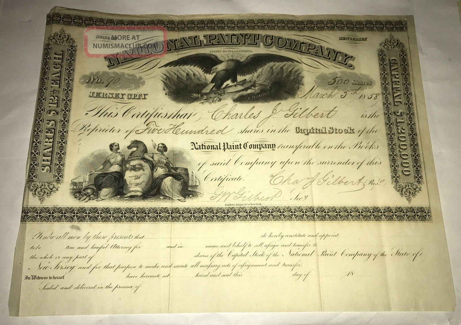 1858 National Paint Company Stock Certificate No.  90 500 Shares Jersey Eagle Stocks & Bonds, Scripophily photo