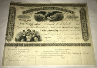 1858 National Paint Company Stock Certificate No.  90 500 Shares Jersey Eagle photo