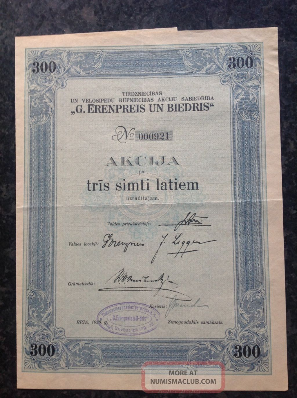 G Erenpreis 1926 Latvian Stock Certificate Stocks & Bonds, Scripophily photo