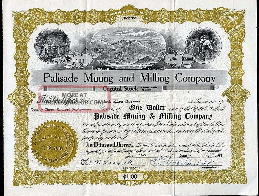 Palisade Mining And Milling Company Coeur D ' Alene Idaho 1953 Stock Certificate Stocks & Bonds, Scripophily photo