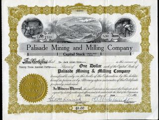 Palisade Mining And Milling Company Coeur D ' Alene Idaho 1953 Stock Certificate photo