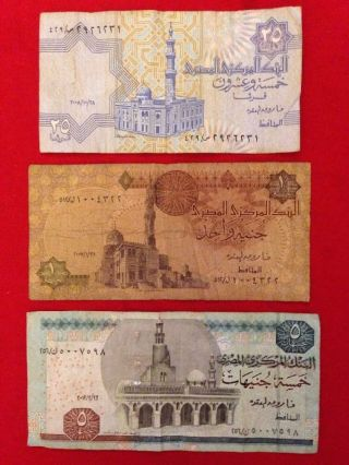 3 Old & Paper Money From Egypt photo
