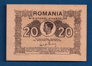 Romania Kingdom 20 Lei Nd - 1945 P - 76 King Michael Unc Ww2 Era Tiny Note photo