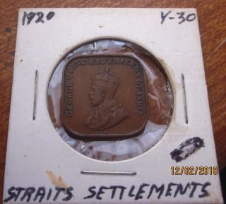 1920 Straits Settlements 1 Cent Coin George V Vintage
