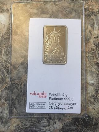 5 Gram Credit Suisse Platinum Bar (in Assay).  999,  Fine photo
