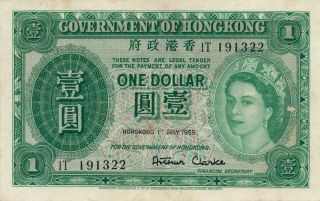 Banknote Hong Kong Government Hong Kong $1 1955 Rare Date Ef photo